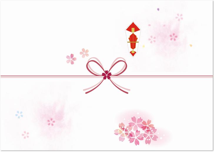 小さなかわいい桜の花をイラストで散らした「のし紙」