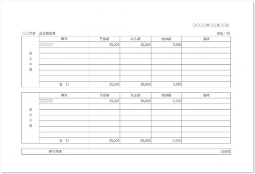 会計報告書「ワード(word)エクセル(Excel)」横型の表形式