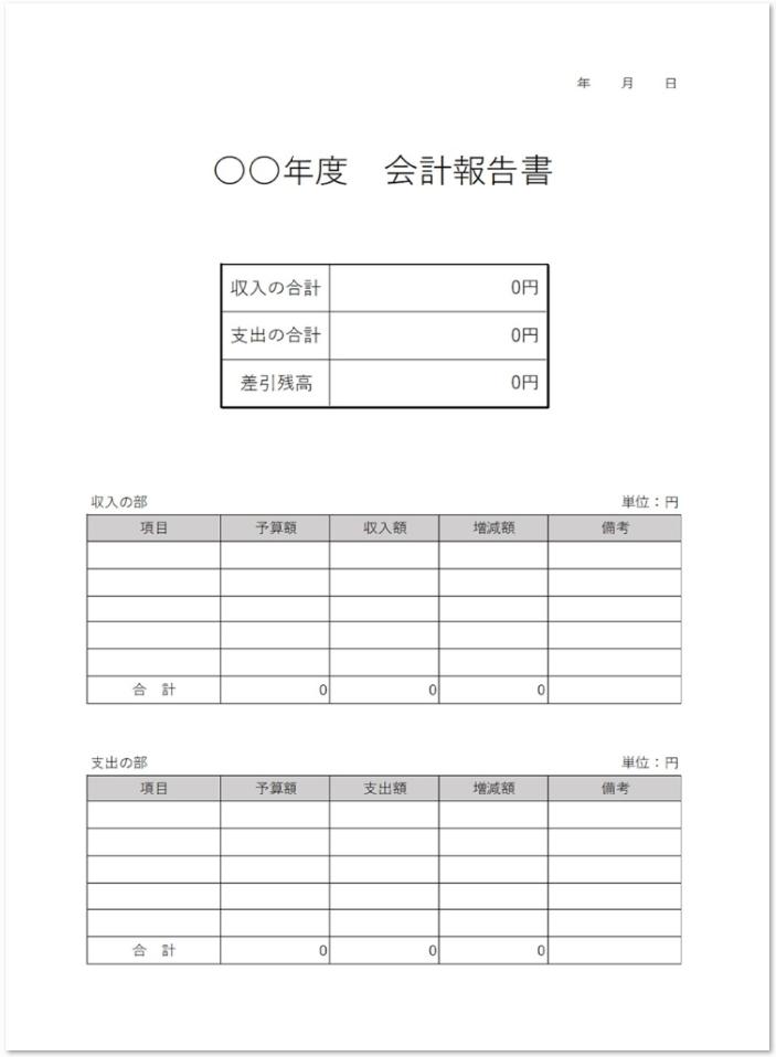 収支が強調される書き方・記入例付きの会計報告書