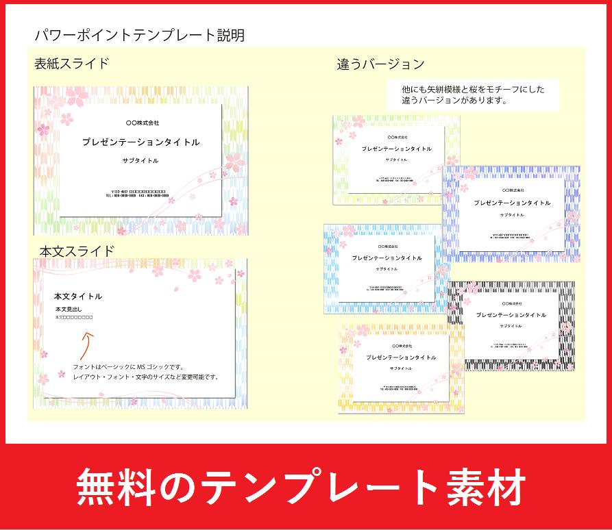 「桜・和柄」デザインのパワーポイント