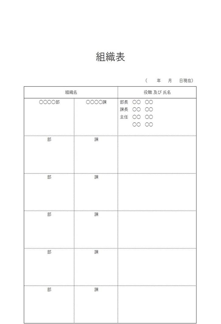 エクセル&ワード&PDFの組織表(組織図)シンプル