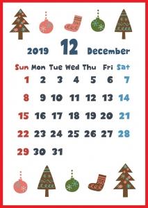 2019年12月縦型の「クリスマスアイテム色々」デザインカレンダー