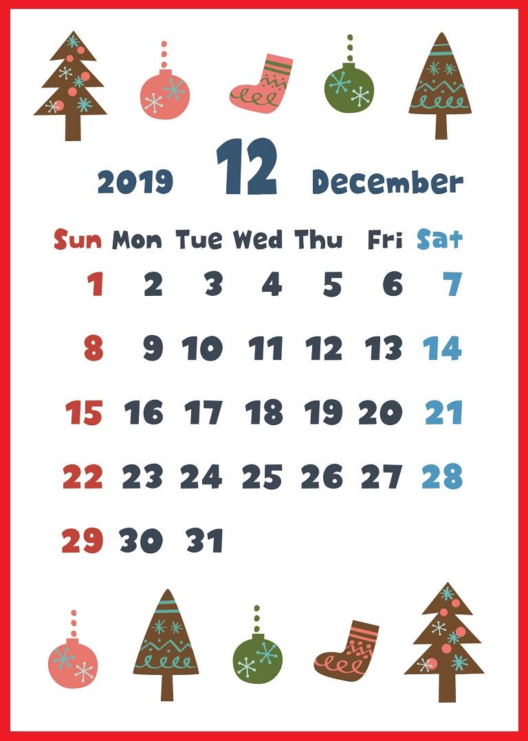 19年12月縦型の クリスマスアイテム色々 イラストカレンダー 無料ダウンロード かわいい 雛形 テンプレート素材