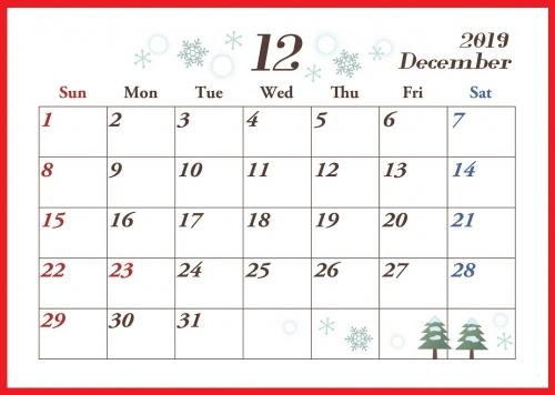 2019年12月横型の「雪の結晶と冬」イラストカレンダー