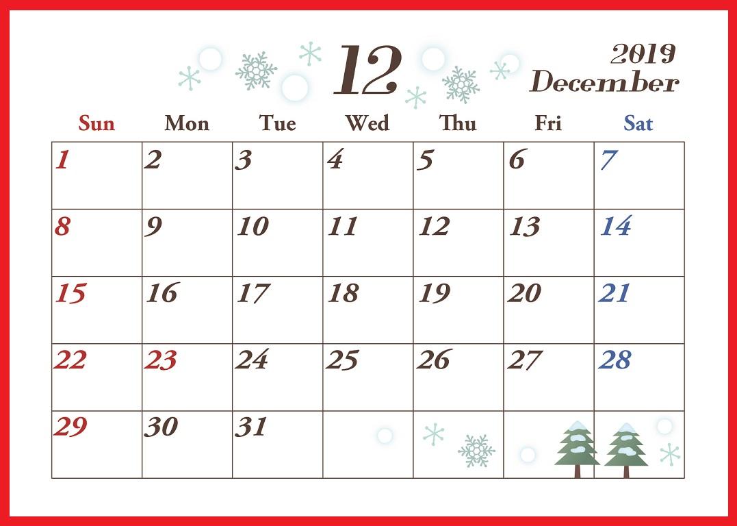 19年12月横型の 雪の結晶と冬 イラストカレンダー 無料ダウンロード かわいい 雛形 テンプレート素材