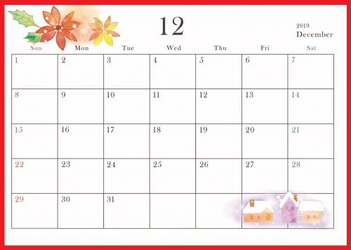 2019年12月横型の「ポインセチアと雪の家」イラストカレンダー