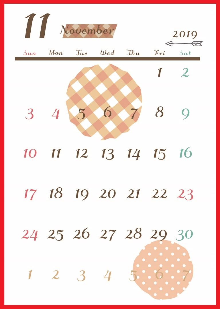 2019年11月縦型の「ドット柄&茶色」イラストカレンダー