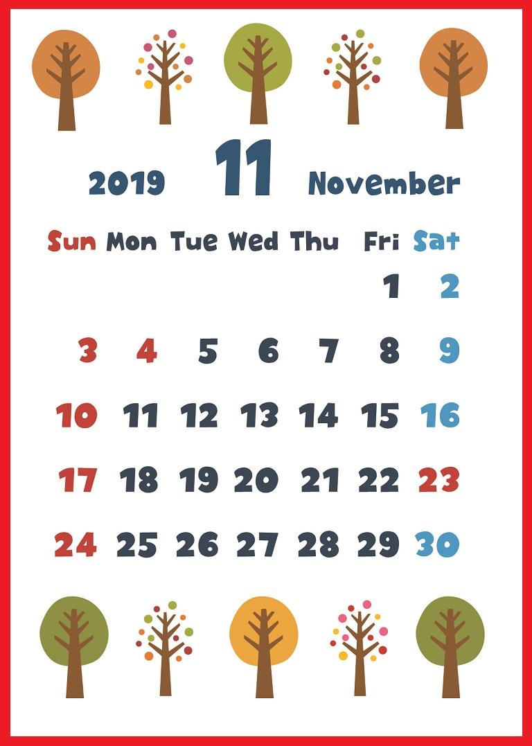 2019年11月縦型の「紅葉&木の実」デザインカレンダー