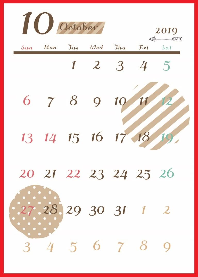 2019年10月縦型の「ボーダー&ドット柄」カレンダー