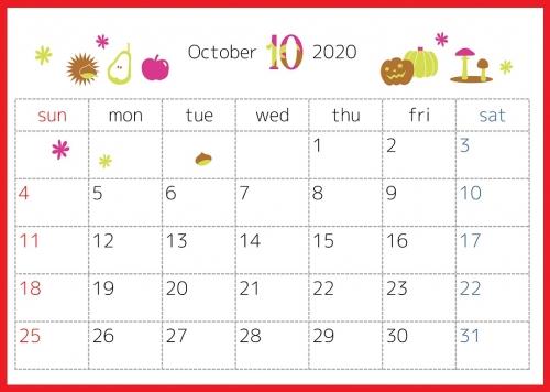 2020年10月横型の「秋の味覚とハロウィン」デザインカレンダー