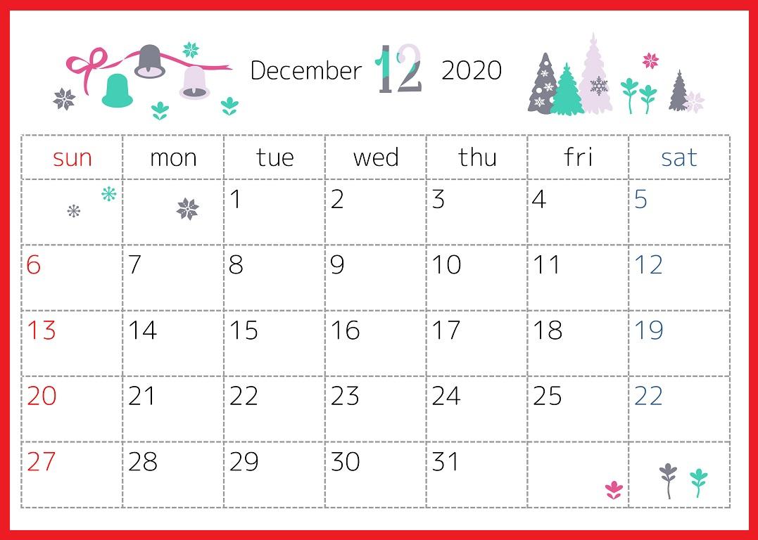 2020年12月横型の「クリスマスともみの木」デザインカレンダー