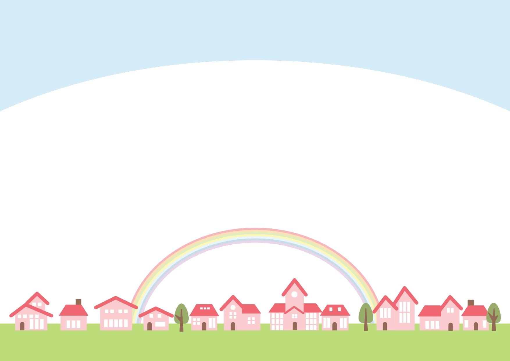 虹子とピンクの建物の街並みのフレーム