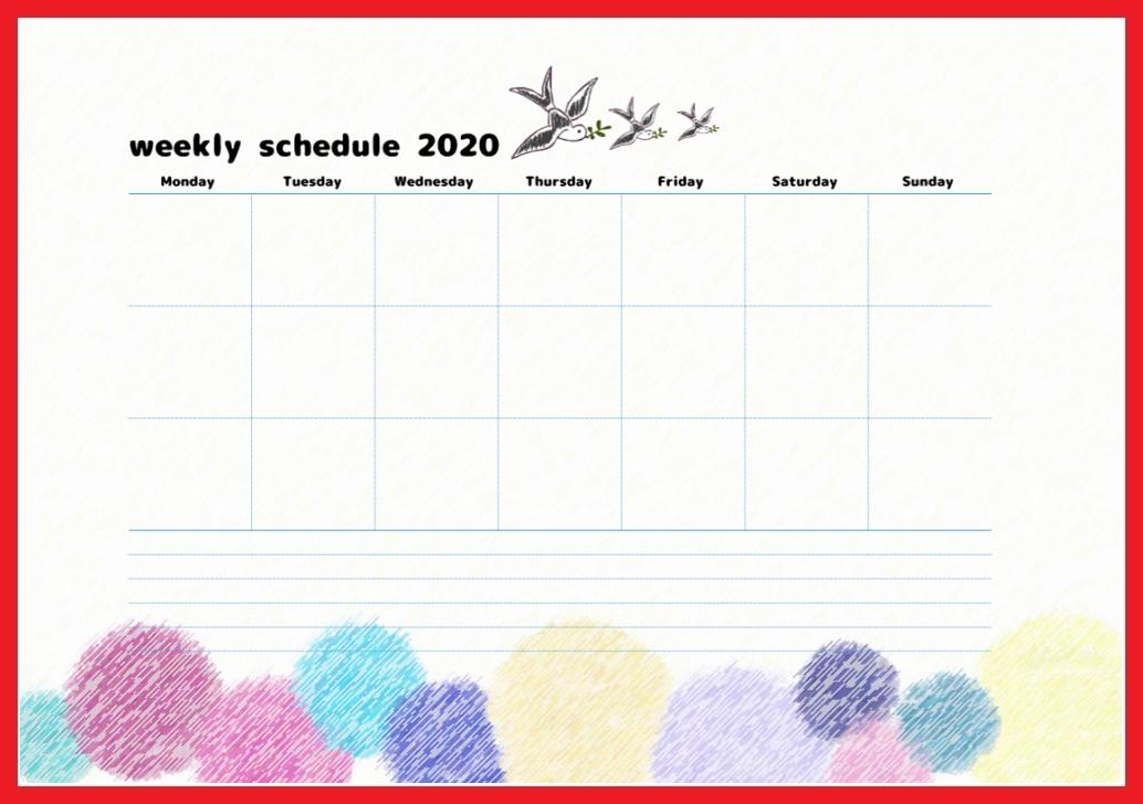 かわいいToDo/週間スケジュール表を無料でダウンロード