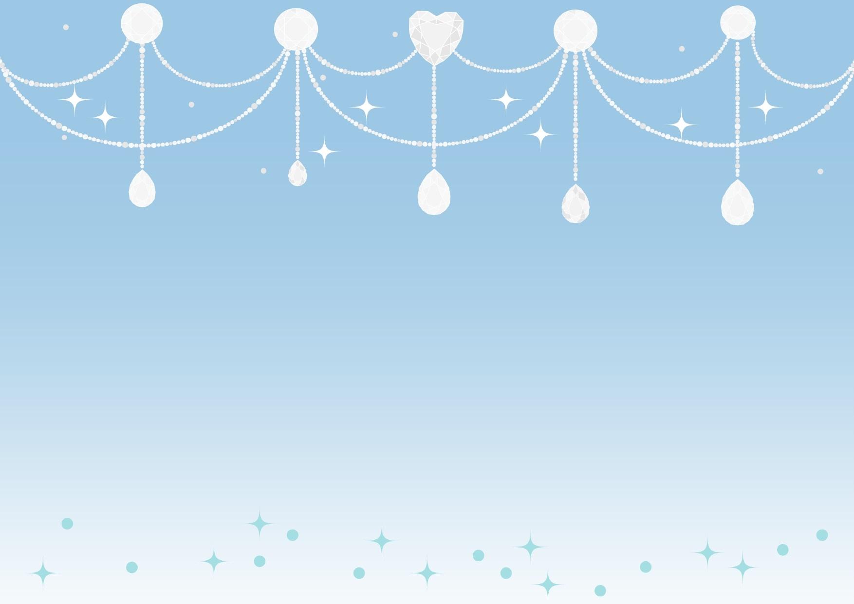背景が青色と白いジュエル「宝石」のキラキラ!フレーム
