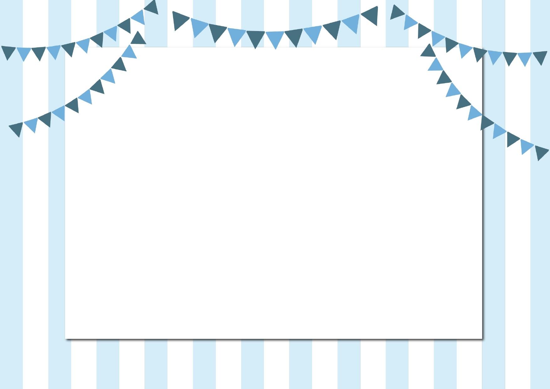 かわいい青色背景のガーランド&ストライプ!フレーム002