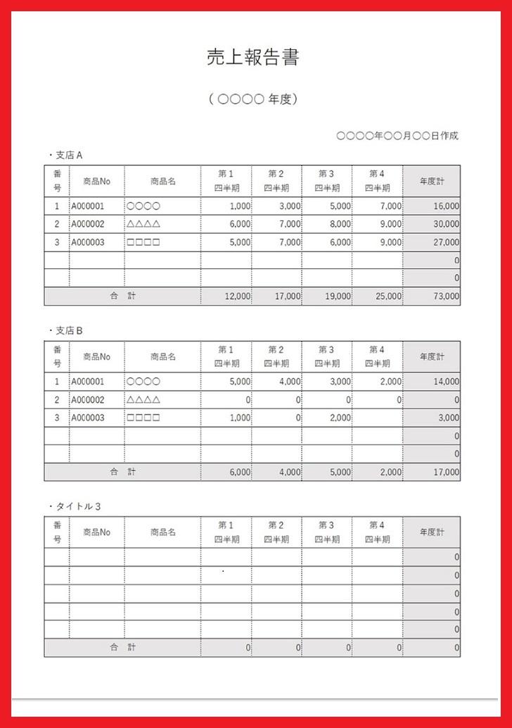 商品別の販売目標や集計表に使える売上管理表