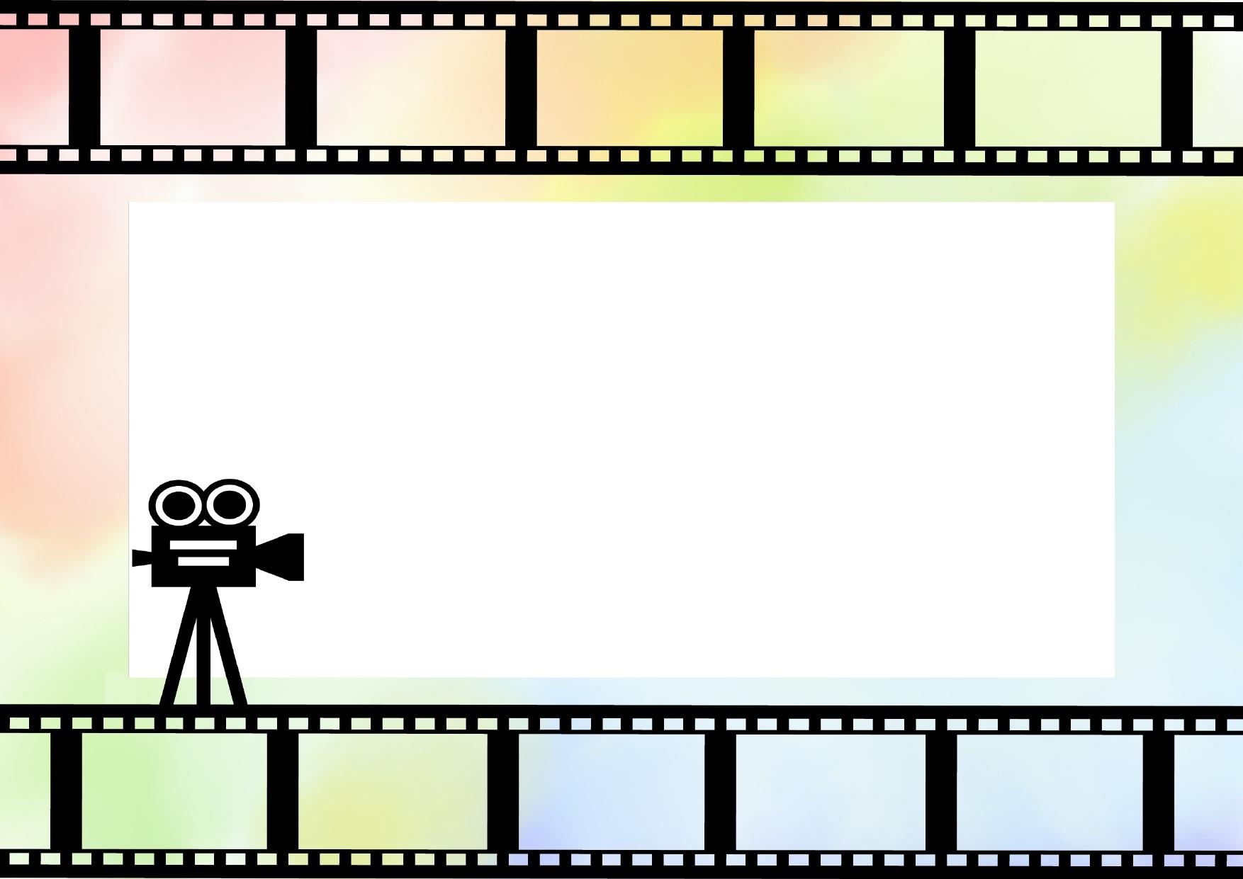 虹色の映画フィルムのフレーム