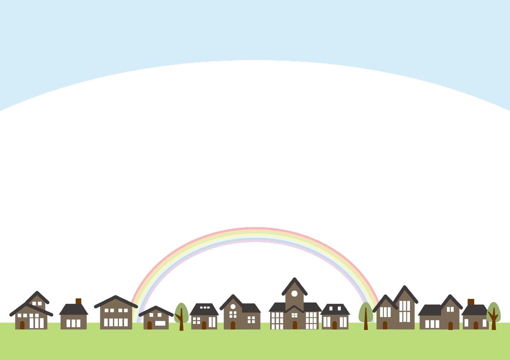 虹子とブラウンの建物の街並みのフレーム・飾り枠