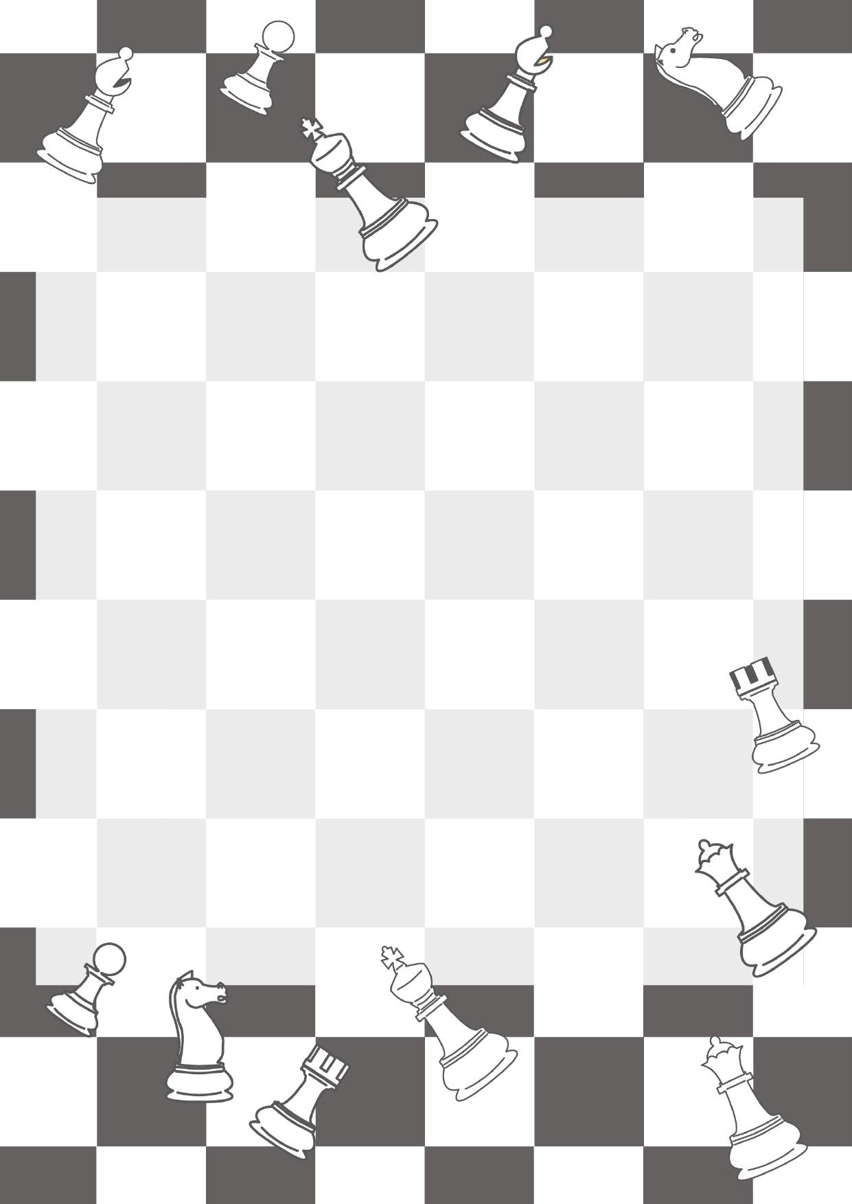 モノクロ(白黒)のチェス盤の背景とチェス駒のフレーム