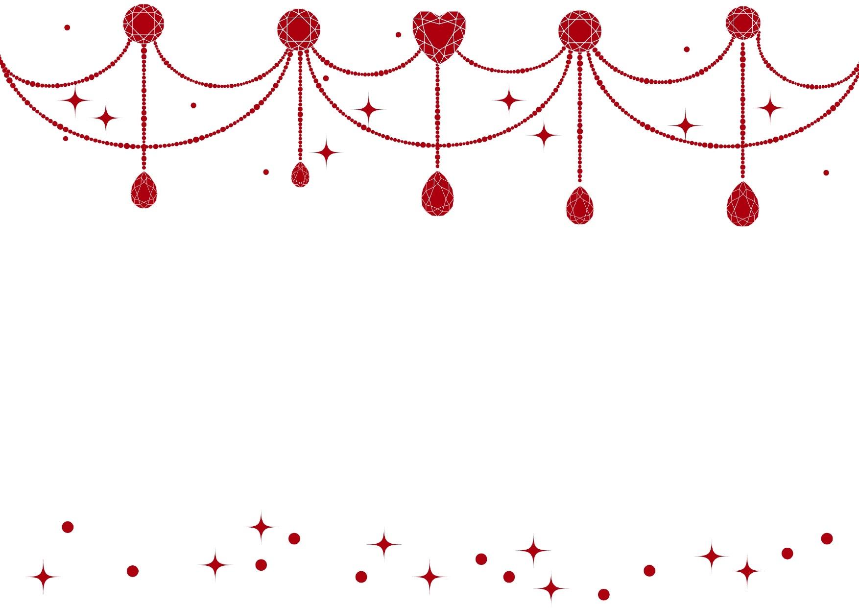 背景が白色と赤色のジュエル「宝石」のキラキラ!フレーム