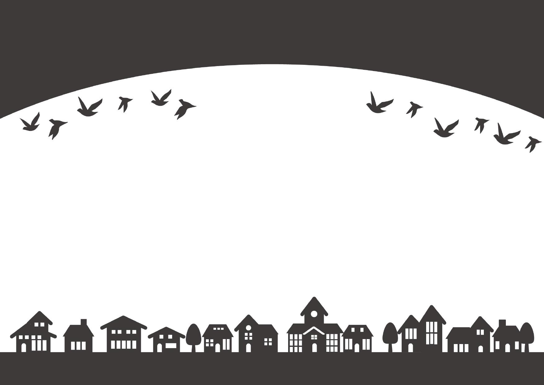 シルエット・モノクロ(白黒)と鳥と街並み飾り枠