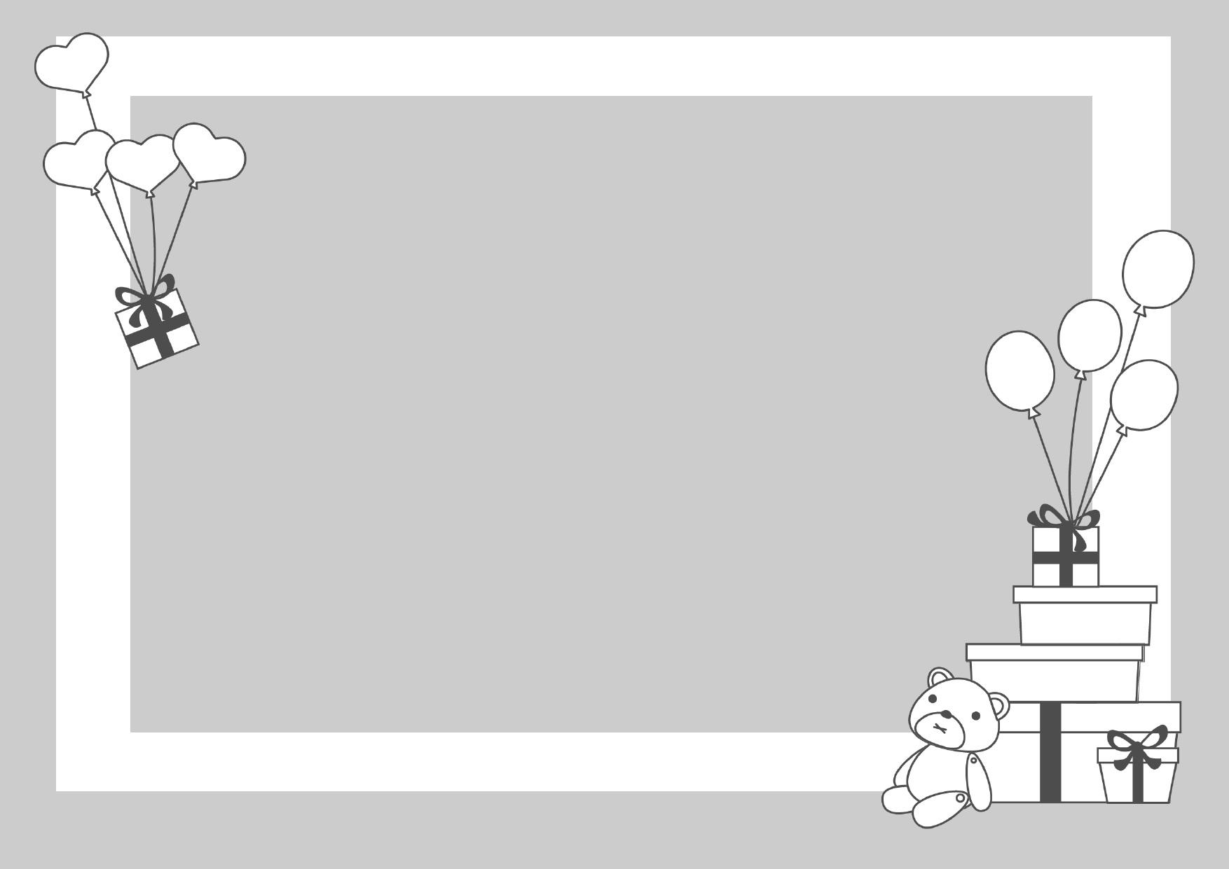 モノクロ(白黒)のプレゼントとクマのフレーム