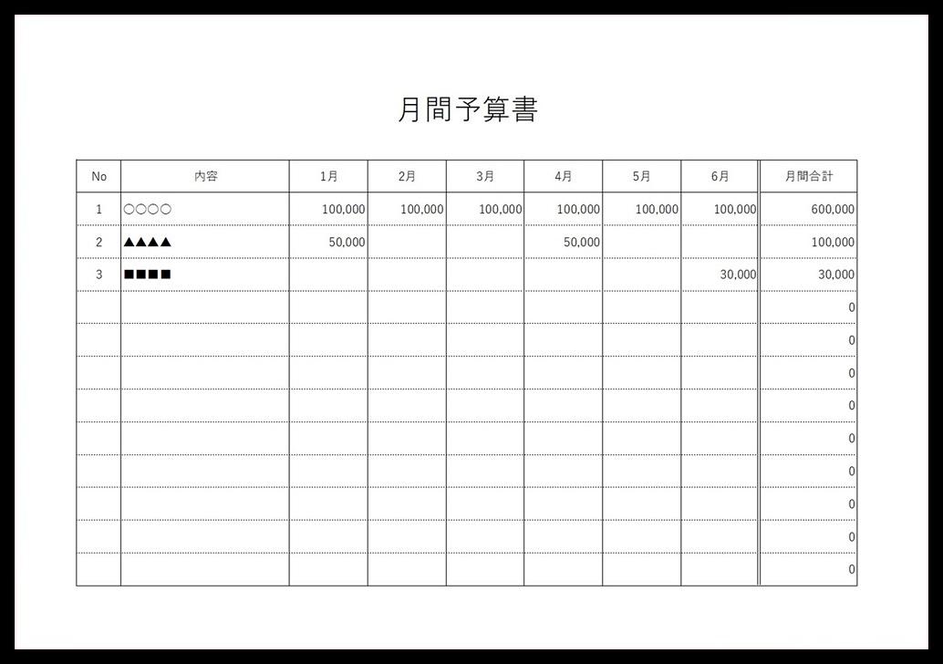 凡庸性が高いシンプルな予算書「pdf・word・Excel」