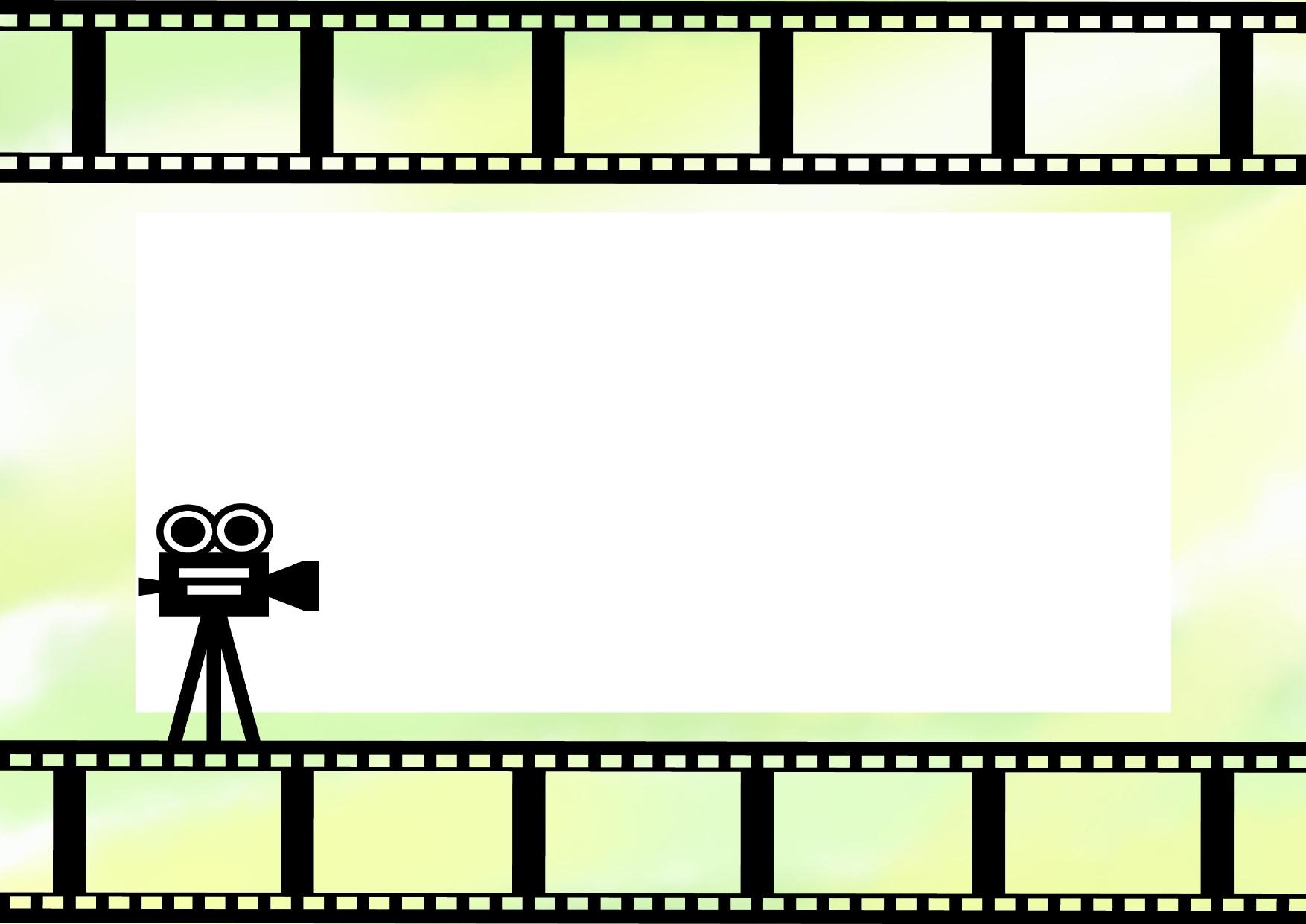 グリーンの背景・映画フィルムのフレーム