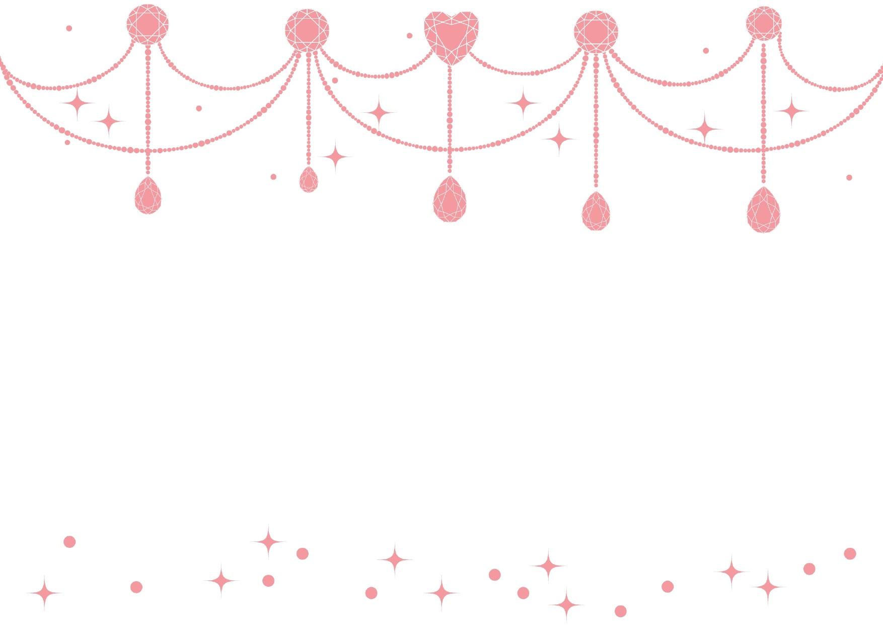 背景が白色とピンクのジュエル「宝石」のキラキラ!フレーム