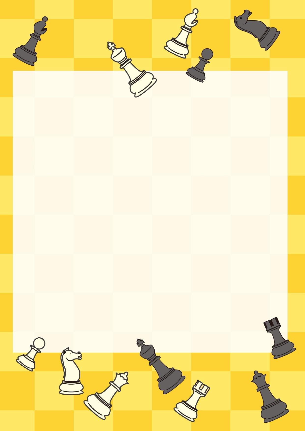 イエロー(黄色)のチェス盤の背景とチェス駒のフレーム