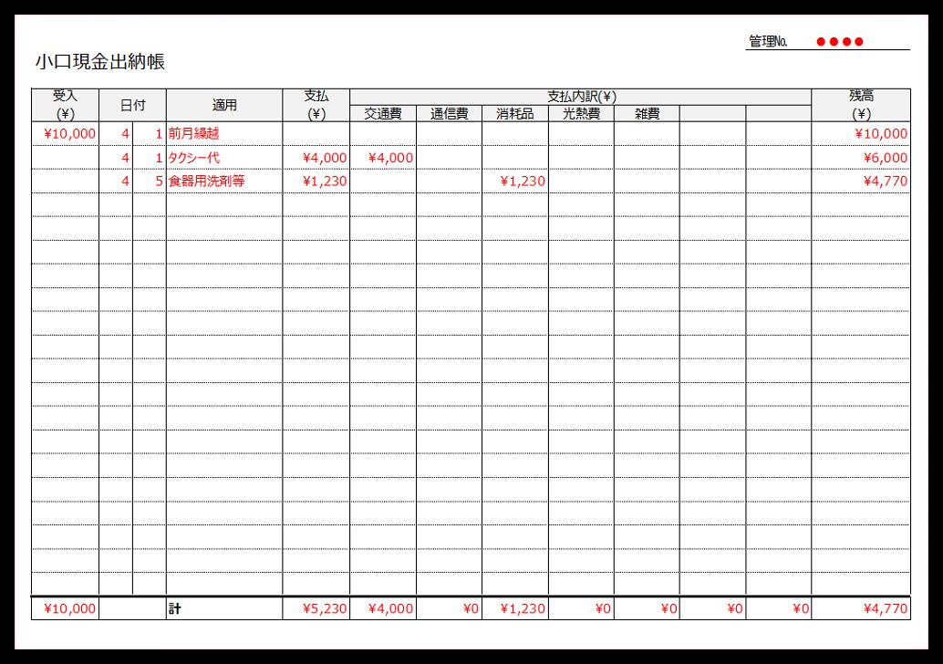 書き方が簡単なエクセルの小口現金出納帳