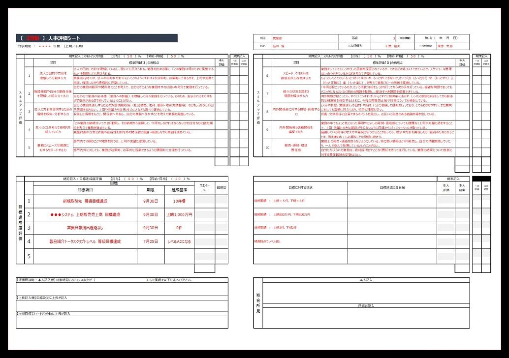 人事評価・社員評価表のシート「エクセル・サンプル」