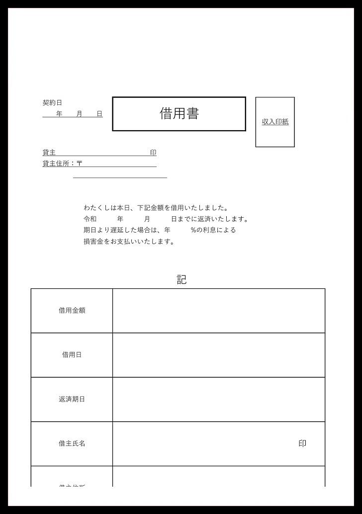 シンプルな必要項目がある!ワード&PDFの金銭借用書