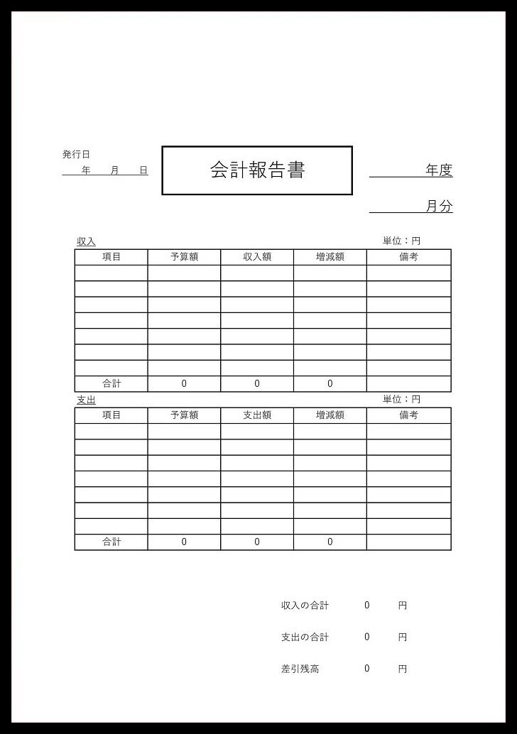 シンプルな飲み会や簡単な会計書として!会計報告書