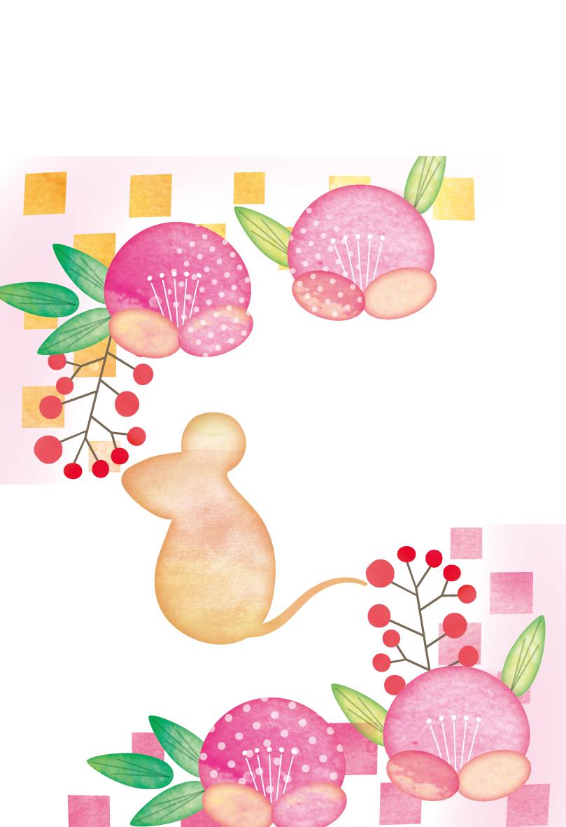 手書き風のねずみと椿の花のかわいいイラスト年賀状素材