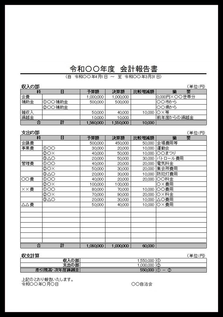 色々と使える会計報告書「Excel・pdf」書類