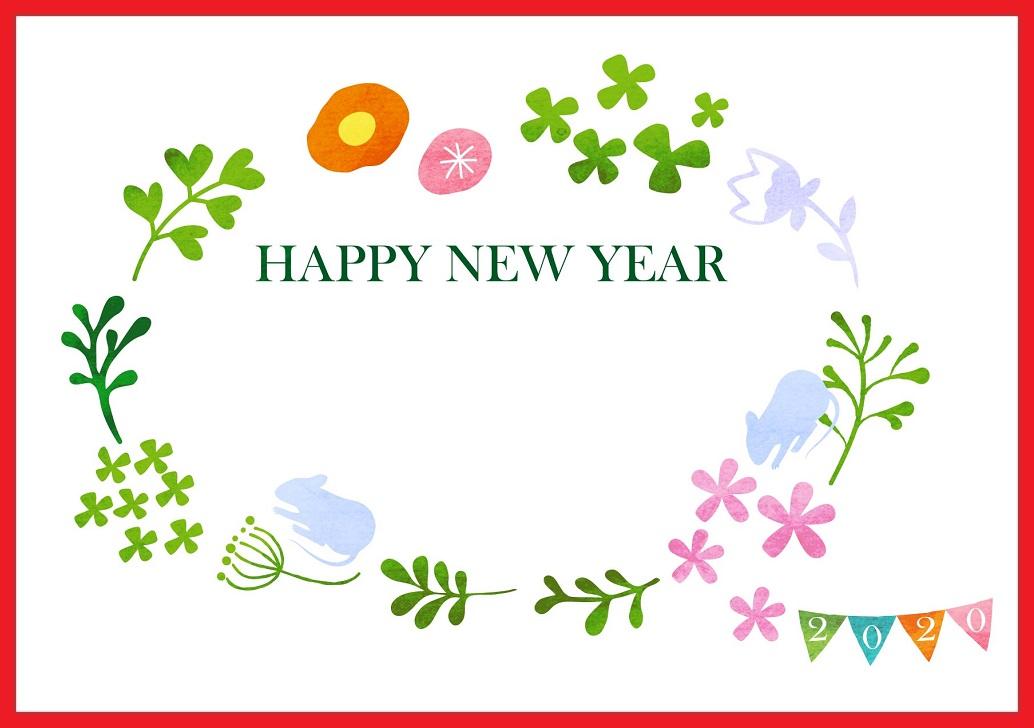 シルエットねずみと花の年賀状
