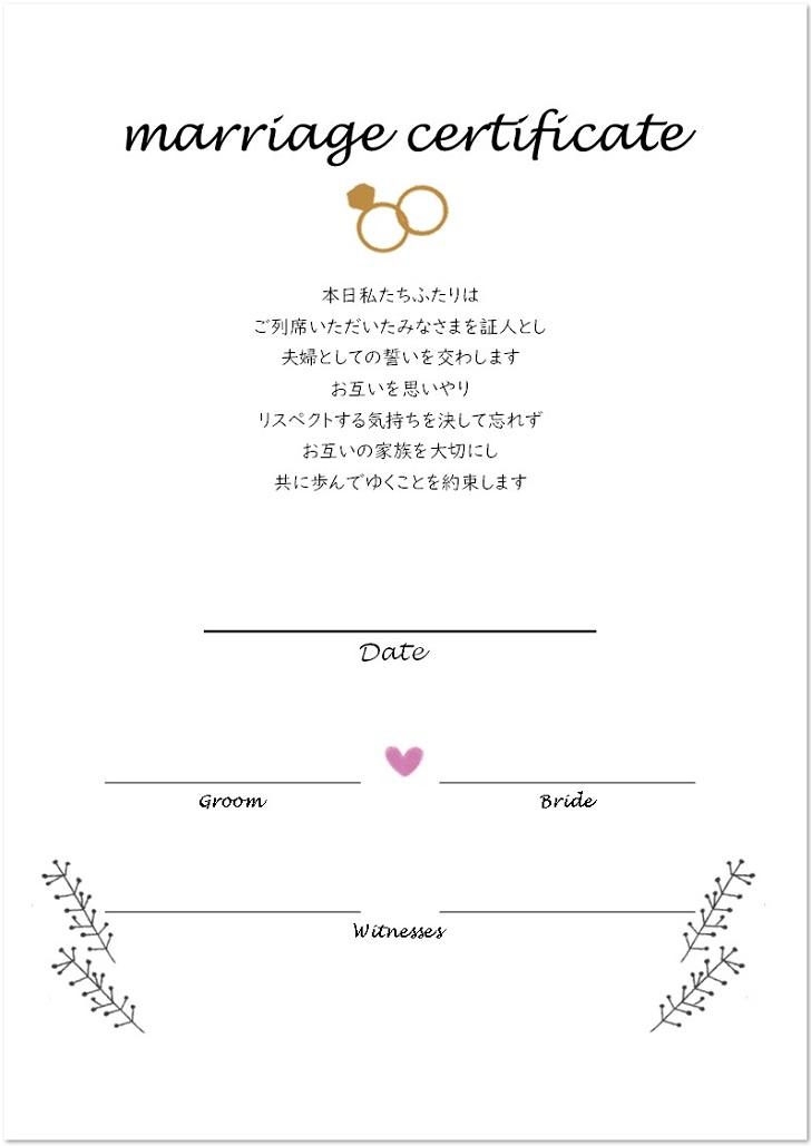 編集可能!立会人署名欄ありの結婚証明書
