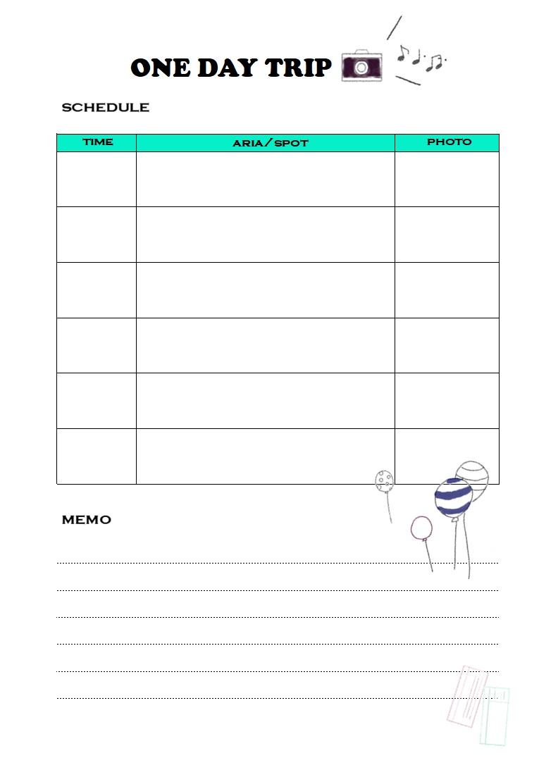 簡単!旅行の日程表(旅程表)「Excel・word・pdf・A4」