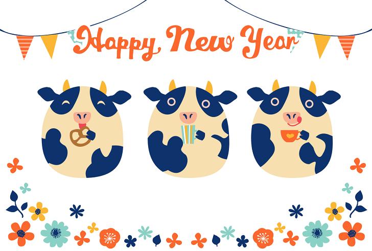 2021年干支の3匹の牛&HappyNewYear年賀状テンプレート