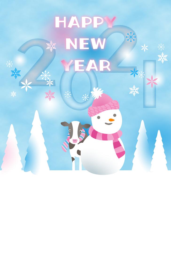 写真&画像対応「透過PNG」雪だるまと牛の年賀状無料テンプレート