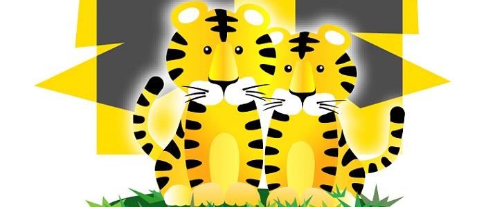 2頭のトラがオシャレにデザインされいているテンプレート